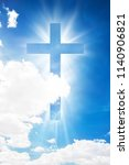cross shape shining in cloud... | Shutterstock . vector #1140906821