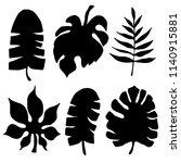 palm leaves  flowers  pineapple ... | Shutterstock .eps vector #1140915881