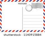 postcard. air mail. postal card ... | Shutterstock .eps vector #1140915884