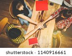 the concept of successful group ... | Shutterstock . vector #1140916661