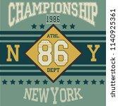 new york brooklyn sport wear... | Shutterstock . vector #1140925361