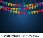 party background with flags... | Shutterstock .eps vector #1140935867