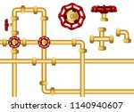 pipeline with valves graphic... | Shutterstock .eps vector #1140940607