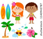hawaiian boy and girl kids with ... | Shutterstock .eps vector #1140943787