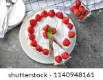 plate with delicious strawberry ...