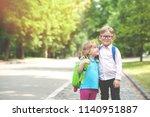 happy children go back to... | Shutterstock . vector #1140951887