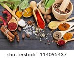 powder spices on spoons in... | Shutterstock . vector #114095437