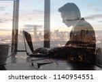 double exposure of businessman...   Shutterstock . vector #1140954551
