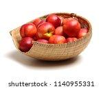 ripe peach on white background | Shutterstock . vector #1140955331