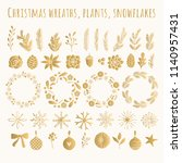 golden set of christmas wreath  ...   Shutterstock .eps vector #1140957431