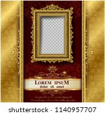 royal gold frame on pattern... | Shutterstock .eps vector #1140957707