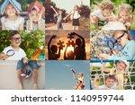 collage of happy children... | Shutterstock . vector #1140959744