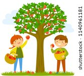 two kids picking apples from...   Shutterstock . vector #1140961181
