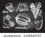 ink hand drawn set of fruits  ... | Shutterstock .eps vector #1140969737