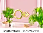 isolated gold icon with plants... | Shutterstock . vector #1140969941
