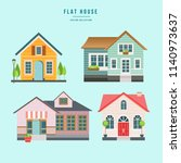 colorful flat residential houses | Shutterstock .eps vector #1140973637