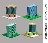 vector isometric buildings set. | Shutterstock .eps vector #1140973691