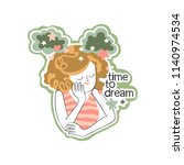 time to dream. beautiful girl....   Shutterstock .eps vector #1140974534
