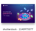 crypto casino concept isometric ... | Shutterstock .eps vector #1140975377