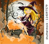 witch with potion in the pot... | Shutterstock .eps vector #114097579