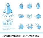 lineo blue   space and planets...   Shutterstock .eps vector #1140985457