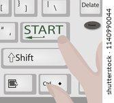 keyboard start power button  ... | Shutterstock .eps vector #1140990044