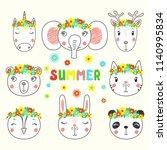 set of cute funny unicorn ... | Shutterstock .eps vector #1140995834