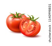 realistic raw tomato with green ... | Shutterstock .eps vector #1140998831