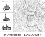 bern city map with hand drawn... | Shutterstock .eps vector #1141004354
