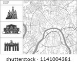 moscow city map with hand drawn ... | Shutterstock .eps vector #1141004381