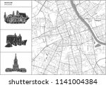 warsaw city map with hand drawn ... | Shutterstock .eps vector #1141004384