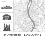 budapest city map with hand...   Shutterstock .eps vector #1141004441