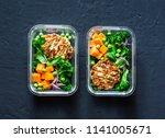 healthy balanced lunch box.... | Shutterstock . vector #1141005671