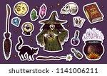 vintage halloween elements... | Shutterstock .eps vector #1141006211