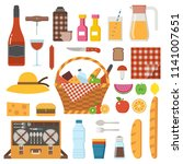 summer picnic party icons set.... | Shutterstock .eps vector #1141007651