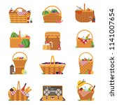 wicker and willow picnic... | Shutterstock .eps vector #1141007654