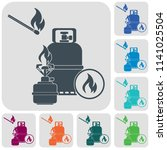 camping stove with gas bottle... | Shutterstock .eps vector #1141025504