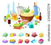 handmade soap vector homemade... | Shutterstock .eps vector #1141027274