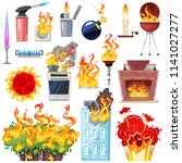 fire vector fired house with...   Shutterstock .eps vector #1141027277
