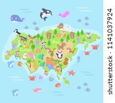map of eurasia with cartoon... | Shutterstock .eps vector #1141037924