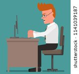 the dissatisfied man works at... | Shutterstock .eps vector #1141039187