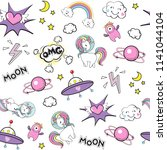 space stickers funny unicorn... | Shutterstock . vector #1141044104