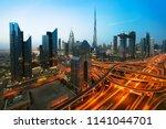 dubai sunset panoramic view of... | Shutterstock . vector #1141044701