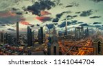 dubai sunset panoramic view of... | Shutterstock . vector #1141044704