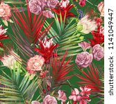 seamless floral pattern with... | Shutterstock . vector #1141049447