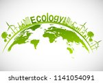 ecology concept with green city ... | Shutterstock .eps vector #1141054091