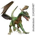 Walking Green Fantasy Dragon