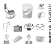 human old age monochrome icons... | Shutterstock .eps vector #1141058864