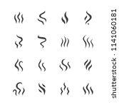 smoke  steam flat line icons.... | Shutterstock .eps vector #1141060181