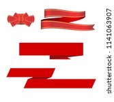 red ribbon  bow and ribbon... | Shutterstock .eps vector #1141063907